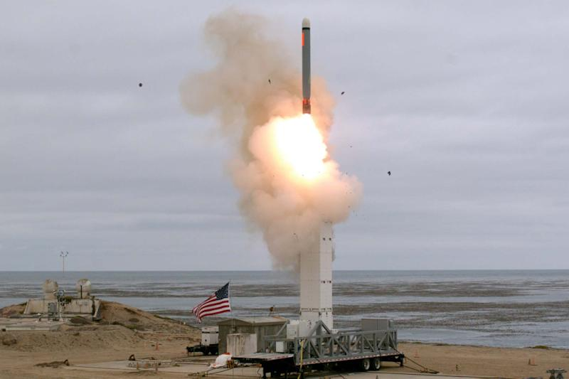 A conventionally configured ground-launched cruise missile is launched by the U.S. Department of Defense (DOD) during a test to inform development of future intermediate-range capabilities at San Nicolas Island: Reuters