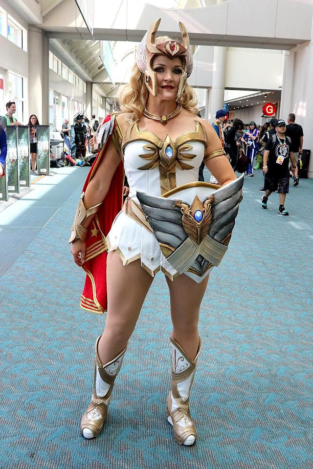 <p>Cosplayer dressed as She-Ra from <i>She-Ra: Princess of Power</i> at Comic-Con International on July 21, 2018, in San Diego. (Photo: Angela Kim/Yahoo Entertainment) </p>