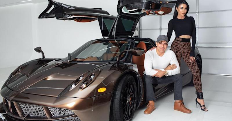 Manny Khoshbin with wife Leyla Milani and Pagani Huayra Hermés Edition