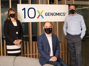 Karla Brown, Mayor of City of Pleasanton; Serge Saxonov, Co-founder and CEO of 10x Genomics (seated); and Ben Hindson, Co-founder and Chief Scientific Officer of 10x Genomics.