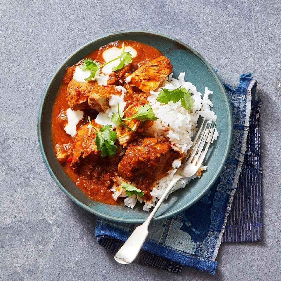 """<p>Loaded with fresh ginger and spices, this comforting curry is the perfect place to re-heat yesterday's bird with tons of flavor.</p><p><em><a href=""""https://www.goodhousekeeping.com/food-recipes/a7386/chicken-curry/"""" rel=""""nofollow noopener"""" target=""""_blank"""" data-ylk=""""slk:Get the recipe for Traditional Turkey Curry »"""" class=""""link rapid-noclick-resp"""">Get the recipe for Traditional Turkey Curry »</a></em></p><p><strong>RELATED: </strong><a href=""""https://www.goodhousekeeping.com/food-recipes/healthy/g978/comfort-food/"""" rel=""""nofollow noopener"""" target=""""_blank"""" data-ylk=""""slk:75 Comfort Food Dishes That Are Perfect for Any Time of Year"""" class=""""link rapid-noclick-resp"""">75 Comfort Food Dishes That Are Perfect for Any Time of Year</a></p>"""