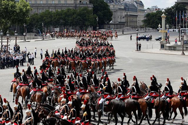 <p>The Cavalry Regiment of the French Republican Guard parades during the traditional Bastille Day military parade on the Champs-Elysees avenue in Paris, France, July 14, 2017. (Photo: Charles Platiau/Reuters) </p>