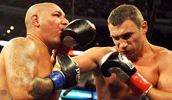 WBC Heavyweight champion Vitali Klitschko (R) of the Ukraine defeated Cristobal Arreola of the US during their WBC Heavyweight Championship fight at the Staples Center in Los Angeles on September 26, 2009. Klitschko won the fight in the ninth round