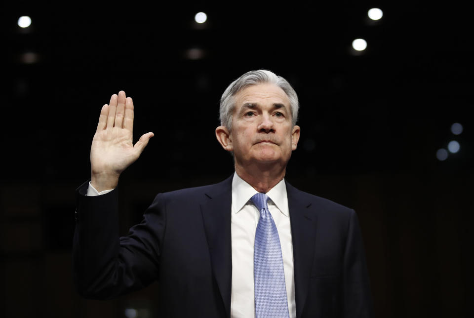 Jerome Powell, President Donald Trump's nominee for chairman of the Federal Reserve, is sworn into testify during a Senate Banking, Housing, and Urban Affairs Committee hearing on Capitol Hill in Washington, Tuesday, Nov. 28, 2017. (AP Photo/Carolyn Kaster)