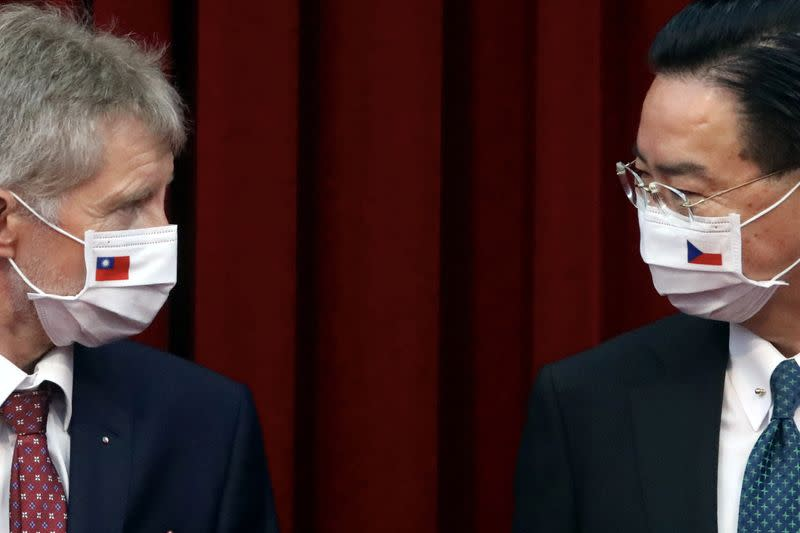 Czech Senate President Milos Vystrcil and Taiwan's Foreign Minister Joseph Wu hold a joint news conference in Taipei,