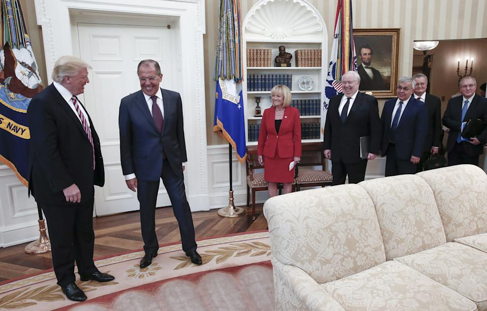 President Donald Trump and Russia's Foreign Minister Sergei Lavrov meet for talks in the Oval Office.