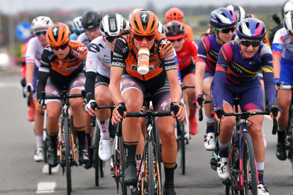 DE PANNE BELGIUM  OCTOBER 20 Chantal Van Den Broek  Blaak of The Netherlands and Boels Dolmans Cycling Team  Refreshment  Jessica Pratt of Australia and Team Canyon Sram Racing  during the 3rd Driedaagse Brugge  De Panne 2020 Women Classic a 1563km race from Brugge to De Panne  AG3daagse  on October 20 2020 in De Panne Belgium Photo by Luc ClaessenGetty Images