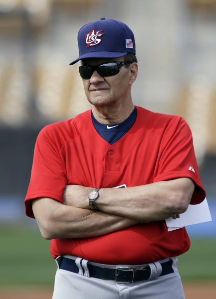 United States manager Joe Torre watches his team warm up before an exhibition baseball game Tuesday, March 5, 2013, in Glendale, Ariz. The game is the first of two exhibitions the team will play leading up the the start of the World Baseball Classic. (AP Photo/Mark Duncan)