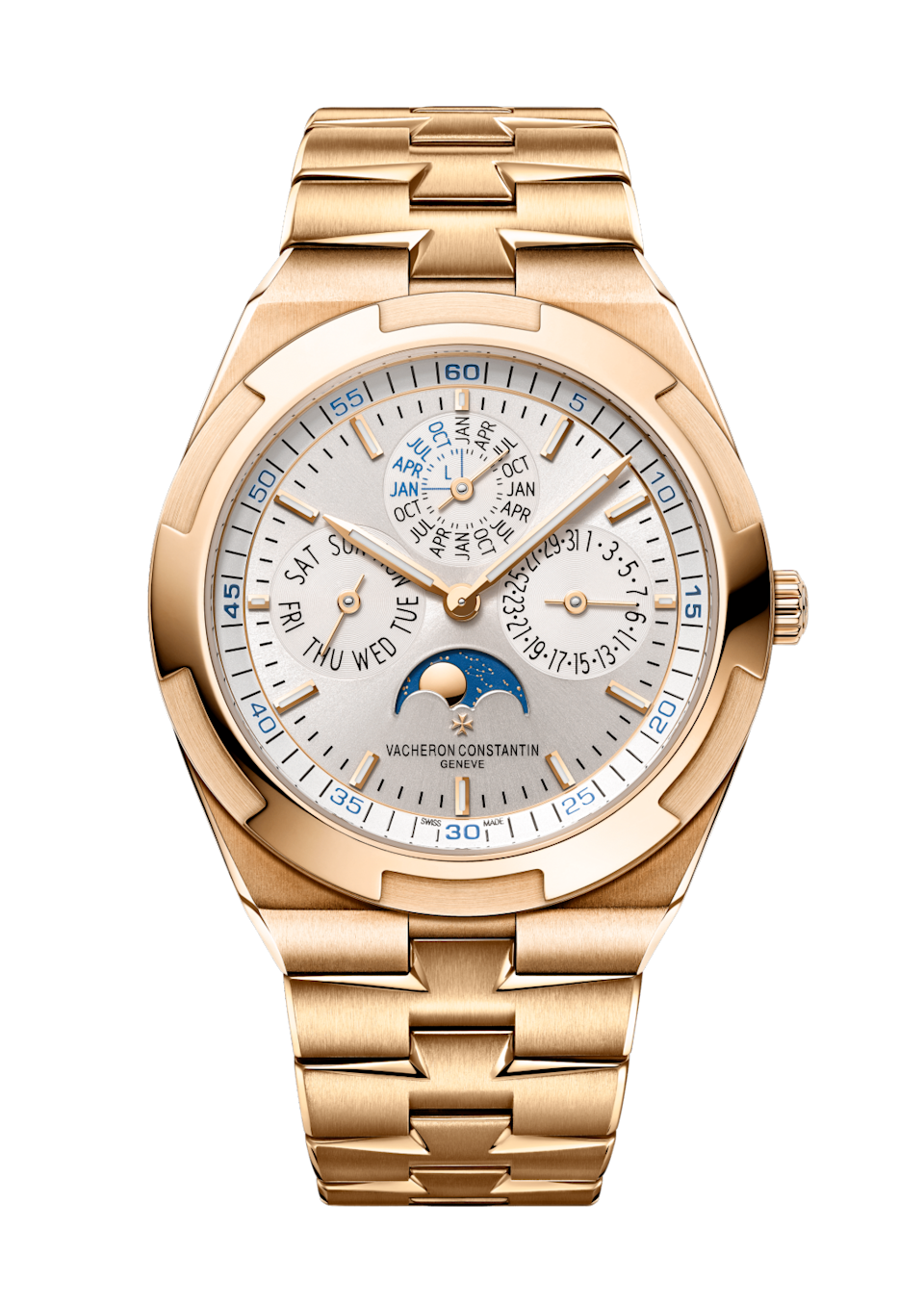 """<p><strong>Vacheron Constantin</strong></p><p>vacheron-constantin.com</p><p><strong>$97000.00</strong></p><p><a href=""""https://www.vacheron-constantin.com/us/en/collections/overseas/4300v-120r-b064.html"""" rel=""""nofollow noopener"""" target=""""_blank"""" data-ylk=""""slk:Shop Now"""" class=""""link rapid-noclick-resp"""">Shop Now</a></p><p>Vacheron Constantin released new Overseas watches this year, including this ultra-thin rose gold. The bracelet links subtly reveal the Vacheron Maltese cross logo and the perpetual calendar will reveal the correct date until 2100. </p><p>Case size: 41.5 mm</p>"""