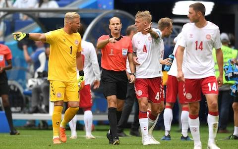 Referee Mark Geiger awards Australia a penalty after consulting VAR during the 2018 FIFA World Cup Russia group C match between Denmark and Australia at Samara Arena on June 21, 2018 in Samara, Russia - Credit: Getty Images
