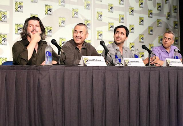 "Executive Producer Ronald D. Moore, Executive Producer/Showrunner Steven Maeda, Writer/Co-Executive Producer Cameron Porsandeh and Syfy's President of Original Content Mark Stern at Syfy's ""Helix"" Panel in San Diego, CA on Friday, July 19, 2013."