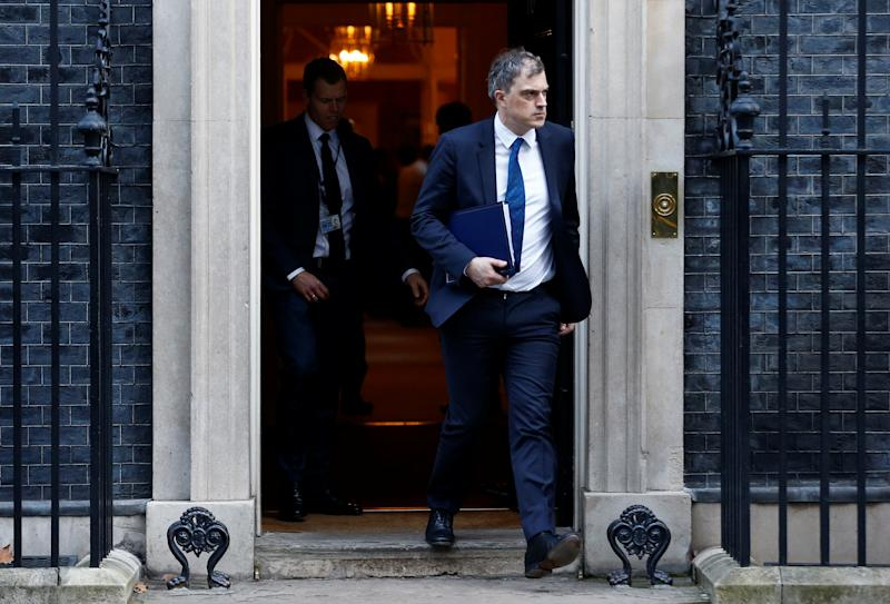 Britain's Secretary of State for Northern Ireland Julian Smith is seen outside 10 Downing Street London, Britain, January 21, 2020. REUTERS/Henry Nicholls