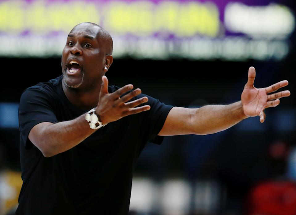 NEW ORLEANS, LOUISIANA - AUGUST 25: 3 Headed Monsters head coach Gary Payton reacts from the sidelines during the BIG3 Playoffs at Smoothie King Center on August 25, 2019 in New Orleans, Louisiana. (Photo by Sean Gardner/BIG3 via Getty Images)