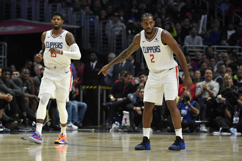 The Clippers looked to familiar faces down the stretch in a thrilling victory over the Celtics in their first game with Kawhi Leonard and Paul George on the floor. (AP Photo/Mark J. Terrill)