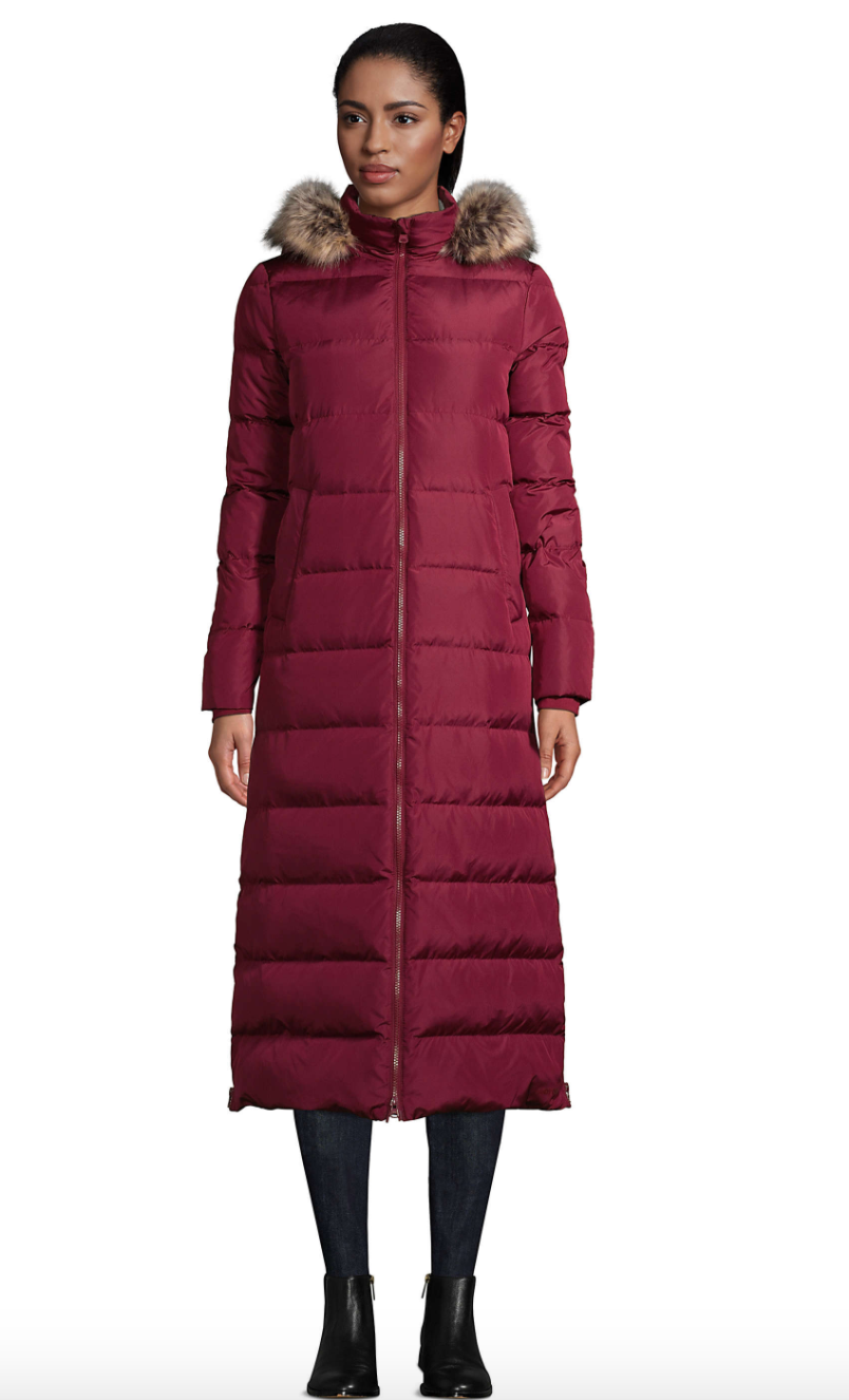 Maxi Long Down Coat with Hood by Land's End.