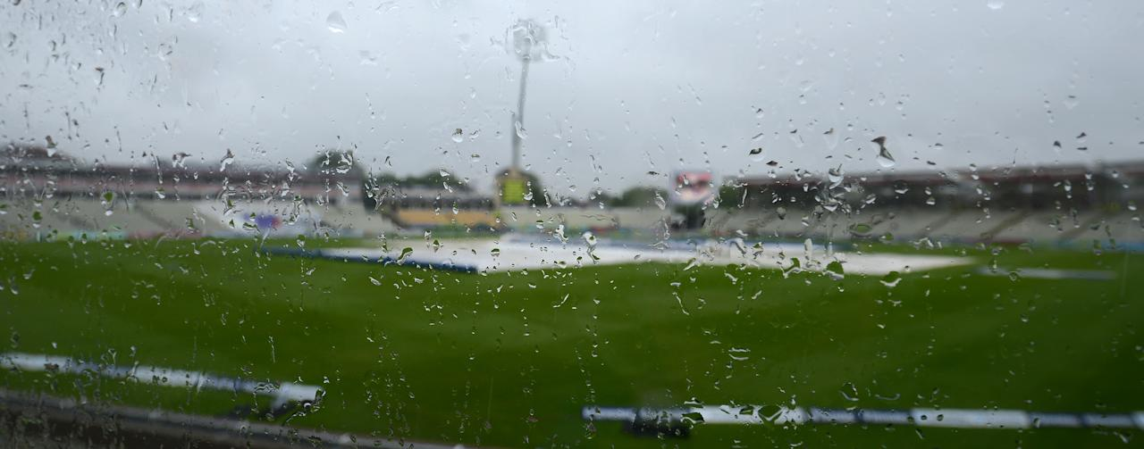 Rain falls delaying the start of the first day of the third cricket Test match between England and the West Indies at Edgbaston in Birmingham, central England, on June 7, 2012. Rain delayed the scheduled start of the third Test between England and the West Indies at Edgbaston on June 7.  AFP PHOTO / ANDREW YATES      RESTRICTED TO EDITORIAL USE. NO ASSOCIATION WITH DIRECT COMPETITOR OF SPONSOR, PARTNER, OR SUPPLIER OF THE ECB        (Photo credit should read ANDREW YATES/AFP/GettyImages)