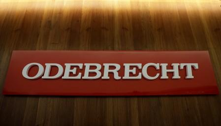 FILE PHOTO: The corporate logo of the Odebrecht SA construction conglomerate is pictured at its headquarters in Sao Paulo