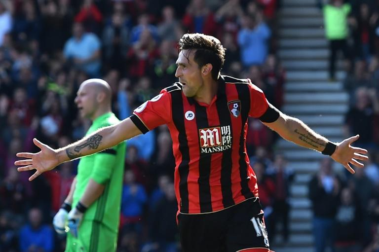 Bournemouth's Charlie Daniels celebrates after scoring their fourth goal against Middlesbrough at the Vitality Stadium in Bournemouth, southern England on April 22, 2017