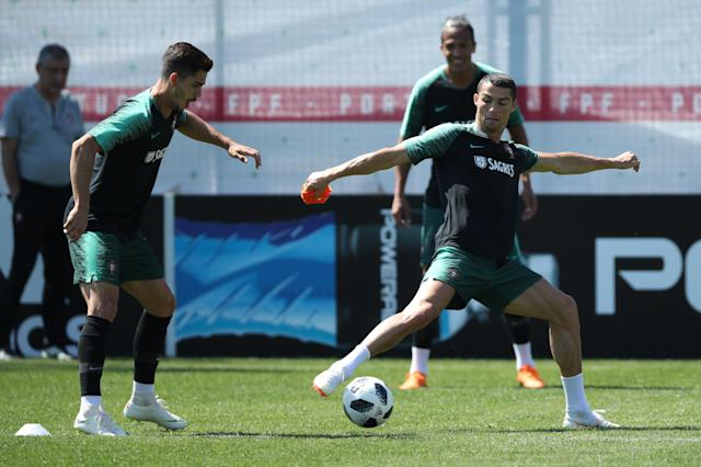 Soccer Football - World Cup - Portugal Training - Saturn Training Base, Kratovo, Moscow Region, Russia - June 17, 2018 Portugal's Cristiano Ronaldo and Andre Silva during training. REUTERS/Albert Gea