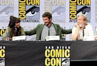 <p>Halle Berry, Pedro Pascal, and Jeff Bridges at Fox Comic-Con panel on July 20, 2017, in San Diego. (Photo: Kevin Winter/Getty Images) </p>