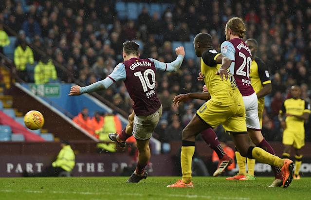 "Soccer Football - Championship - Aston Villa vs Burton Albion - Villa Park, Birmingham, Britain - February 3, 2018 Aston Villa's Jack Grealish scores their third goal Action Images/Alan Walter EDITORIAL USE ONLY. No use with unauthorized audio, video, data, fixture lists, club/league logos or ""live"" services. Online in-match use limited to 75 images, no video emulation. No use in betting, games or single club/league/player publications. Please contact your account representative for further details."