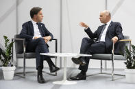 Swiss Federal President Alain Berset, right, talks to Dutch Prime Minister Mark Rutte, during a bilateral meeting during the COP24 United Nations Climate Change Conference in Katowice, Poland, Monday, Dec. 3, 2018. (Peter Klaunzer/Keystone via AP)