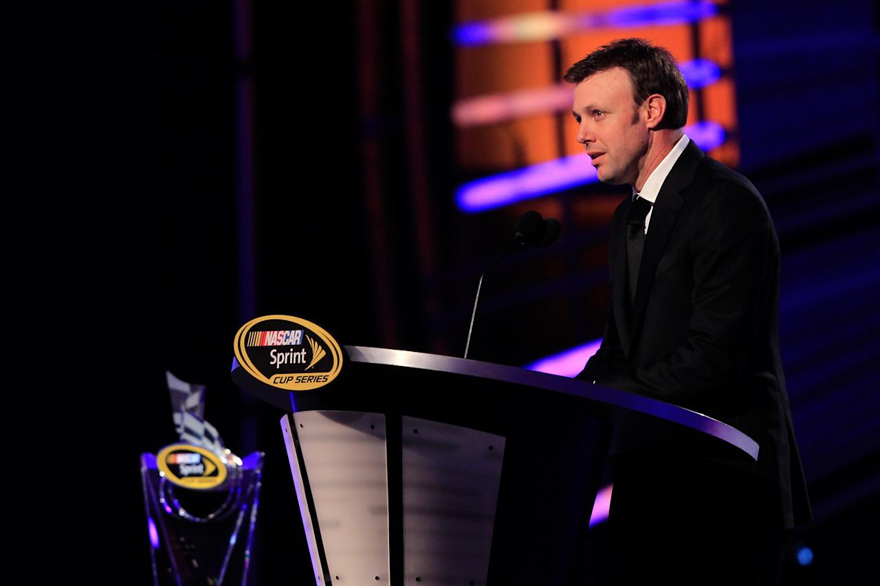 LAS VEGAS, NV - DECEMBER 02:  Driver Matt Kenseth speaks during the NASCAR Sprint Cup Series Champion's Week Awards Ceremony at Wynn Las Vegas on December 2, 2011 in Las Vegas, Nevada.  (Photo by Chris Trotman/Getty Images for NASCAR)
