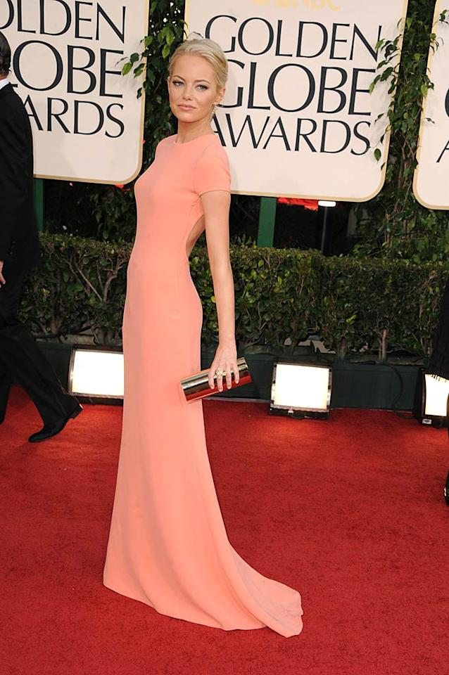 8. Emma Stone -- in a backless, peach-hued Calvin Klein Collection dress and her natural hair color -- at the 68th Annual Golden Globes. (01/16/2011)