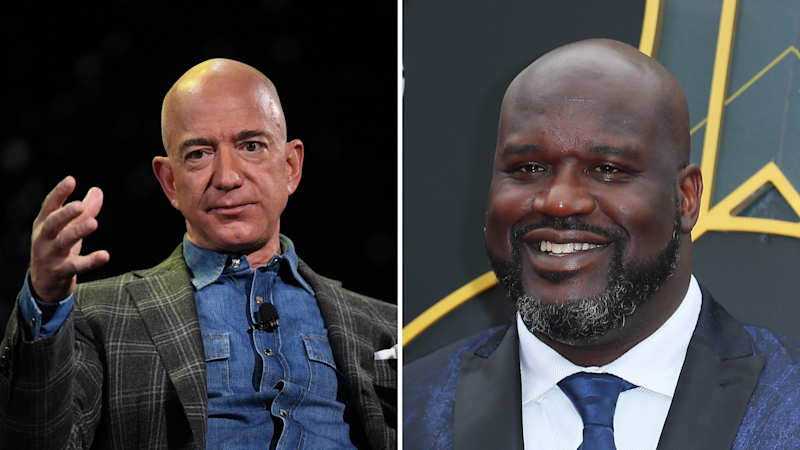Pictured: Amazon founder Jeff Bezos and Shaquille O'Neal. Images: Getty