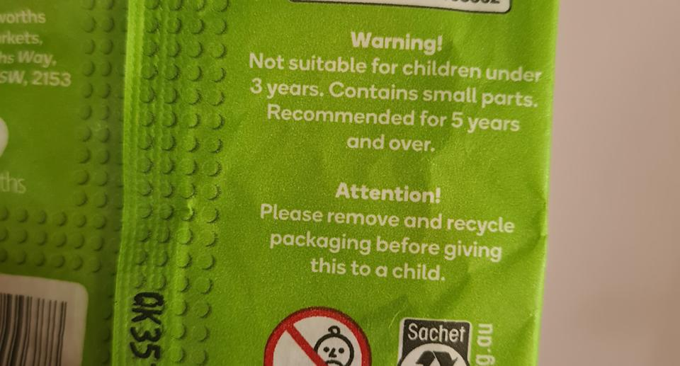 A photo showing the warning on the toys.