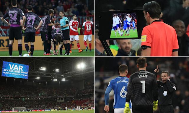 Clockwise from top left: Freiburg and Mainz players returned to the pitch during half-time for a penalty; Deniz Aytekin prepares to award Italy a spot-kick against England; Paul Tierney listens to the VAR decision to disallow a Spurs goal against Rochdale; and VAR in use at the Confederations Cup.