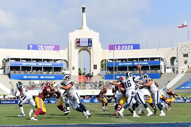 It seemed as if Rams quarterback Jared Goff didn't get much of a home crowd boost on Sunday against the Redskins. (Getty Images)