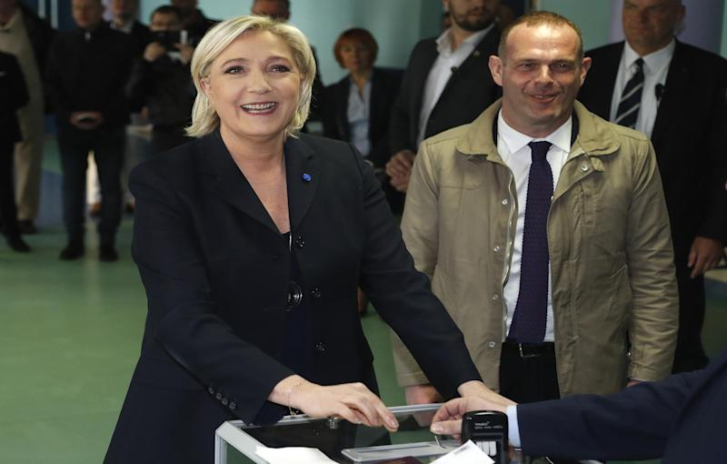 Marine le Pen casts her vote in the French presidential election: Associated Press Images