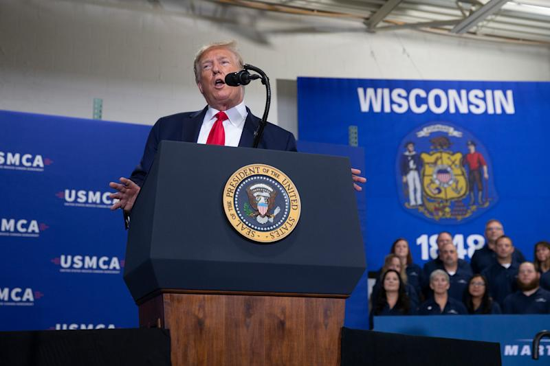 President DonaldTrump delivers a speech at Derco Aerospace in Milwaukee, Wisconsin, on Friday, July 12, 2019.