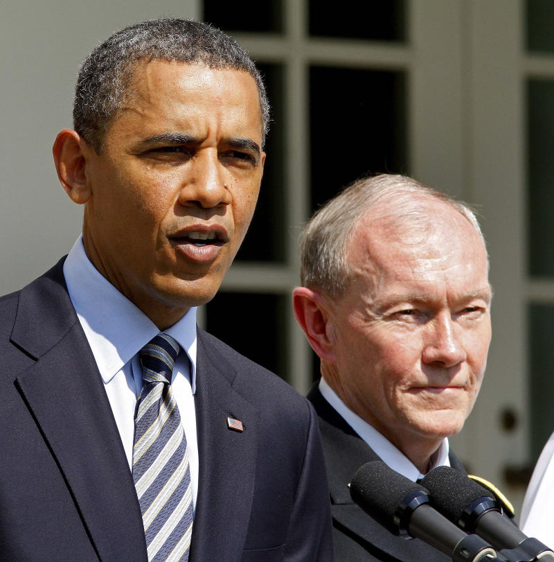 President Barack Obama announces his nominee for the next Chairman of the Joint Chiefs of Staff Army Gen. Martin Dempsey, right, during an announcement in the Rose Garden of the White House in Washington, Monday, May 30, 2011. (AP Photo/J. David Ake)