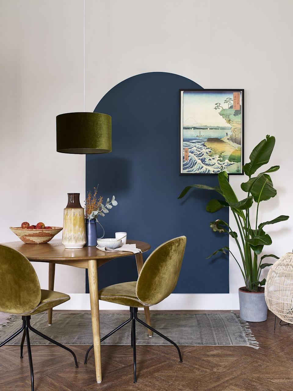 """<p>Geometric paint patterns have become hugely popular – it's a simple, low cost way to create something truly unique. They come in at second on Dulux's list, being featured in 47 per cent of top posts.</p><p>'From simple minimalist designs, to bold and beautiful shapes filling entire walls, all it takes is some masking tape or homemade stencils and your choice of paint colours to create something eye-catching to put your own personal stamp on your home,' Dulux explains.</p><p><strong>READ MORE: <a href=""""https://www.housebeautiful.com/uk/decorate/looks/g30611534/geometric-patterns-shapes-room-decor-ideas/"""" rel=""""nofollow noopener"""" target=""""_blank"""" data-ylk=""""slk:Modern geometric room decor ideas"""" class=""""link rapid-noclick-resp"""">Modern geometric room decor ideas</a></strong></p>"""