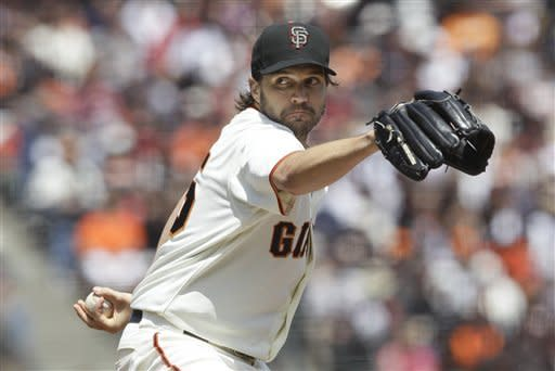 San Francisco Giants pitcher Barry Zito pitches against the Arizona Diamondbacks during the first inning of a baseball game in San Francisco, Monday, May 28, 2012. (AP Photo/Jeff Chiu)