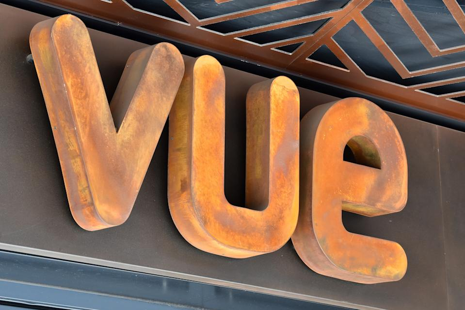 LONDON, UNITED KINGDOM - 2020/06/23: Vue cinema sign in London. Vue, cinema British Prime Minister, Boris Johnson announced that cinemas can reopen in England from July 4 as restrictions of the Coronavirus Lockdown ease. (Photo by Dave Rushen/SOPA Images/LightRocket via Getty Images)
