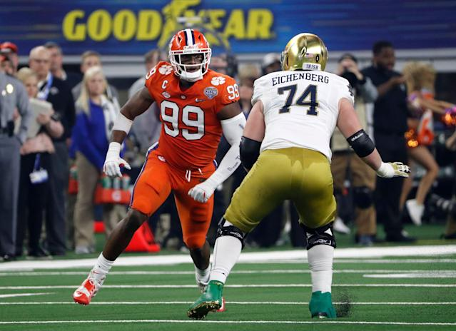 The Raiders picked Clemson defensive end Clelin Ferrell (99) with the fourth pick of the draft. (AP)