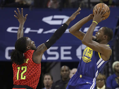 NBA: Kevin Durant guides Warriors to win over Hawks a day after spat with teammate Draymond Green; Rockets beat Nuggets