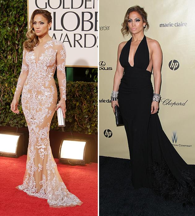 We can't decide which look Jennifer Lopez wore better. She switched frocks after the Golden Globes for the after-parties, slipping off her nude, curve-hugging Zuhair Murad gown for another sexy dress -- a black, backless halter dress. Which look do you like the best? Tell us in the captions below!