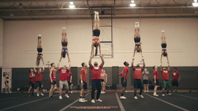 "The pyramid move from ""Cheer."" (Photo: Courtesy of Netflix)"