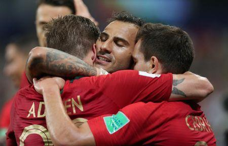 Soccer Football - World Cup - Group B - Iran vs Portugal - Mordovia Arena, Saransk, Russia - June 25, 2018 Portugal's Ricardo Quaresma celebrates scoring their first goal with team mates REUTERS/Ricardo Moraes
