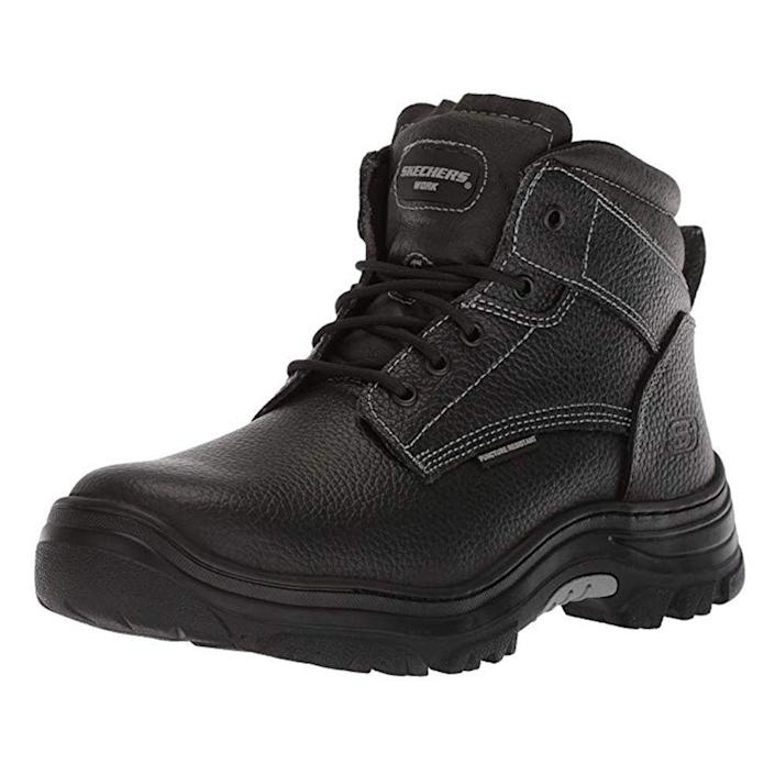 """<p><strong>Skechers</strong></p><p>amazon.com</p><p><a href=""""https://www.amazon.com/dp/B07781VHCS?tag=syn-yahoo-20&ascsubtag=%5Bartid%7C2139.g.19540212%5Bsrc%7Cyahoo-us"""" rel=""""nofollow noopener"""" target=""""_blank"""" data-ylk=""""slk:BUY IT HERE"""" class=""""link rapid-noclick-resp"""">BUY IT HERE</a></p><p><del>$65</del><strong><br>$50.95</strong></p><p>If you're looking for the most comfortable work boots, consider these best-selling, lightweight Skechers, crafted in a relaxed, roomy design. Memory foam insoles mold to the shape of your foot for the perfect fit. </p>"""