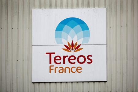 FILE PHOTO: The Tereos logo is displayed at a sugar beet processing plant in Chevrieres, France, March 20, 2019. REUTERS/Benoit Tessier/File Photo