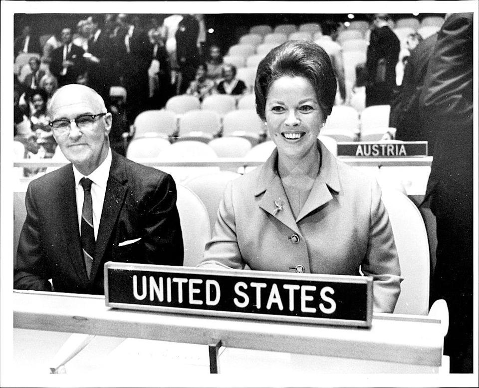<p>Congressman Irving Whalley sitting with Shirley Temple Black, both US delegates to the U.N. </p>