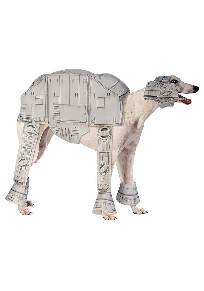 """<p>If you're shopping for the furry friend in your life, consider this AT-AT Imperial Walker Pet Costume with a coordinating <i>Star Wars</i> treat pail. (<a rel=""""nofollow"""" href=""""http://www.halloweencostumes.com/at-at-imperial-walker-pet-costume.html"""">$19.99, HalloweenCostumes.com)</a> </p>"""