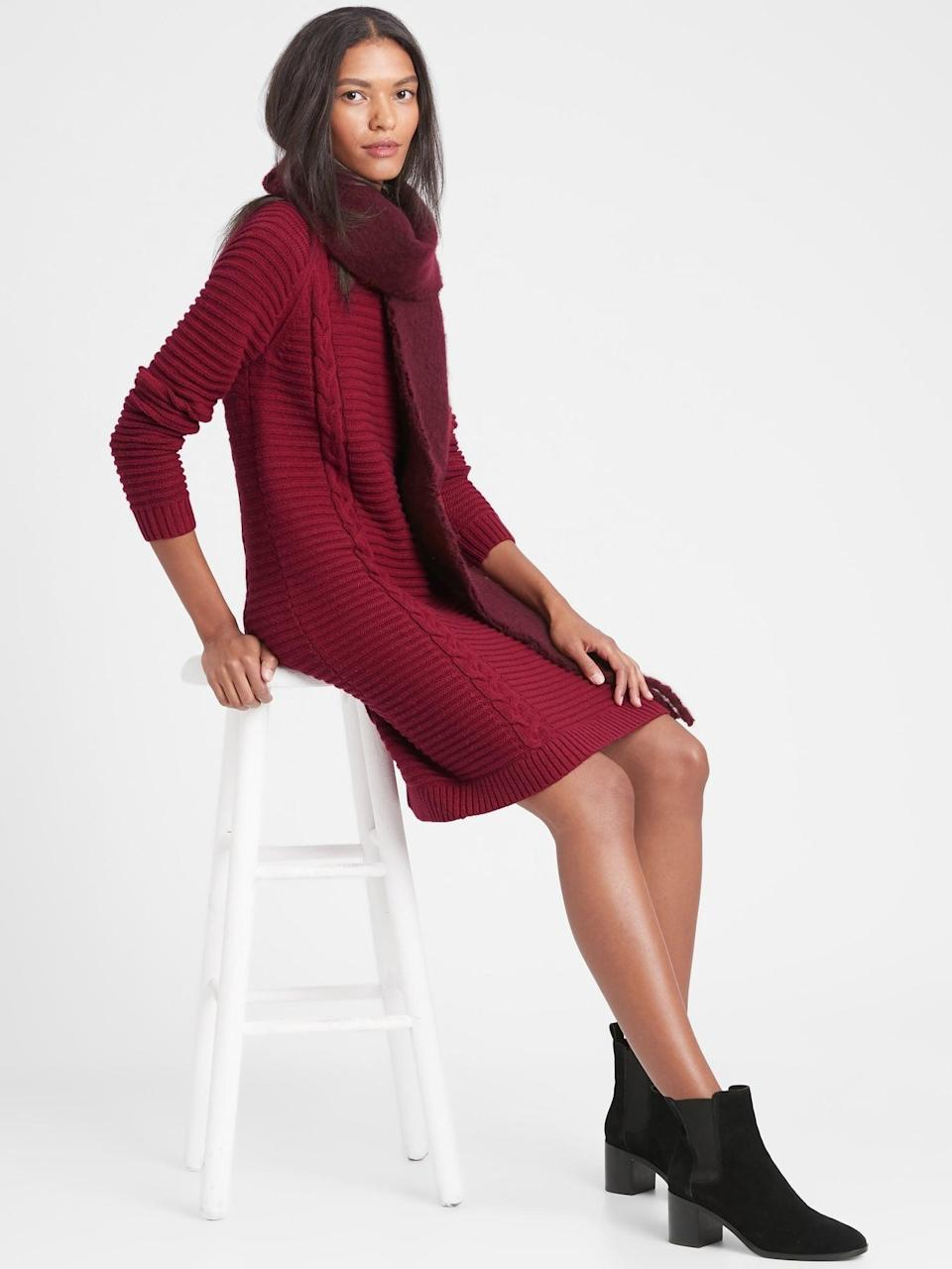 <p>A chunky knit dress like this <span>Banana Republic Cable-Knit Sweater Dress</span> ($139) is the holiday hero! Festive, warm and comfortable!</p>
