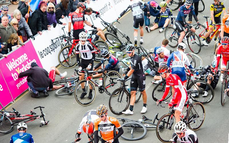Dozens of riders were caught up in the mayhem - Rex Features