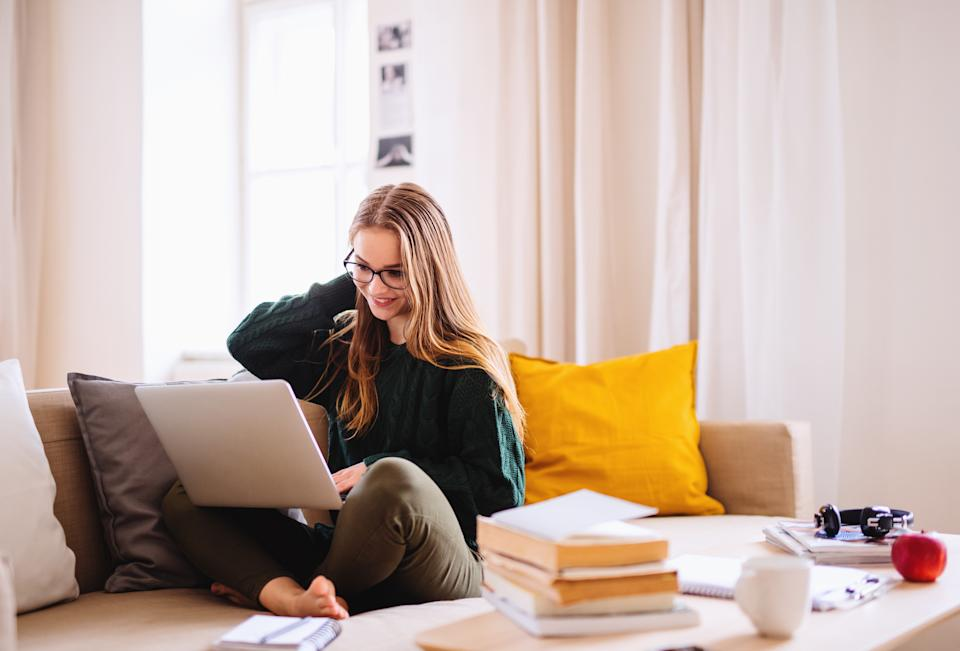 A young happy college female student sitting on sofa at home, using laptop when studying.